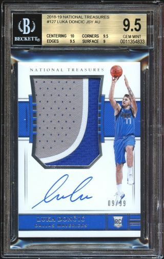 2018 - 19 Panini National Treasures Luka Doncic Rookie Patch Auto 09/99 Bgs 9.  5 10