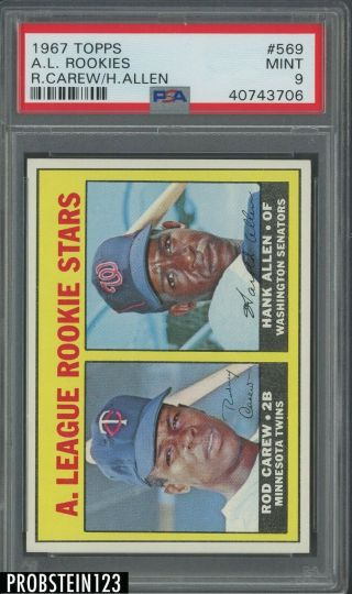 "1967 Topps 569 Rod Carew Twins Rc Rookie Hof Psa 9 "" Looks Nicer """