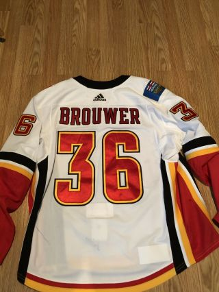 2017/18 Calgary Flames Troy Brouwer Game Worn Jersey Size 58
