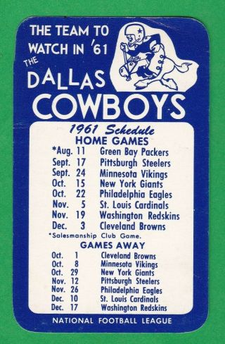 1961 Dallas Cowboys Pocket Schedule - Team Issued - Very Hard To Find