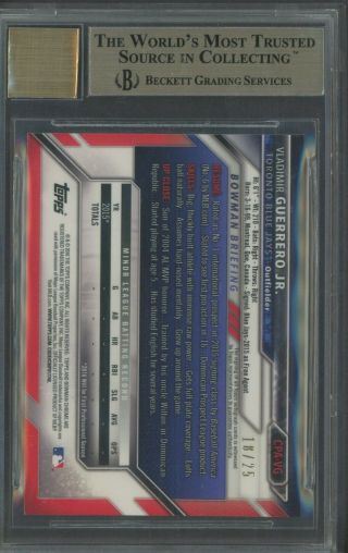 2016 Bowman Chrome Orange Refractor Vladimir Guerrero Jr.  RC AUTO /25 BGS 9.  5 2