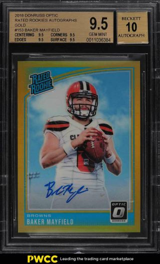 2018 Donruss Optic Gold Baker Mayfield Rookie Rc Auto Jsy 6/10 Bgs 9.  5 (pwcc)