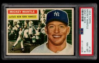 1956 Topps 135 Mickey Mantle Psa 8 Nm - Mt