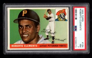 1955 Topps 164 Roberto Clemente Rookie Rc Psa 7 Nr -