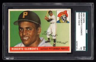 1955 Topps 164 Roberto Clemente Rookie Rc Sgc 7 Nr -