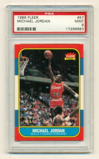 1986 Fleer Basketball Michael Jordan Rookie Rc 57 Psa 9