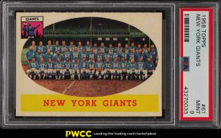 1958 Topps Football York Giants 61 Psa 9 (pwcc)