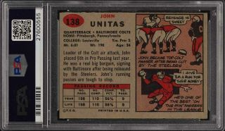 1957 Topps Football Johnny Unitas ROOKIE RC 138 PSA 8.  5 NM - MT,  (PWCC) 2