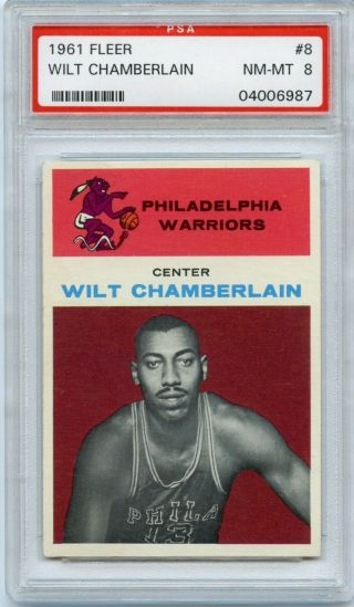1961 Fleer Basketball Wilt Chamberlain Rookie Rc 8 Psa 8 Nm - Mt A,