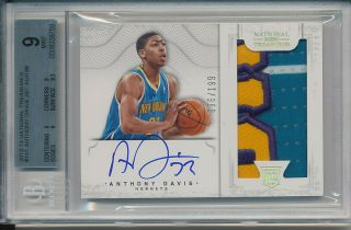 Anthony Davis 2012 - 13 National Treasures Rookie Patch Auto Rc Bgs 9/10