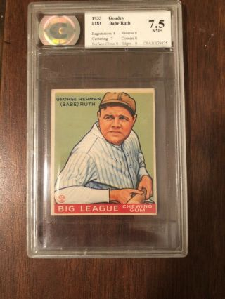 1933 Goudey Babe Ruth 181 Graded 7.  5