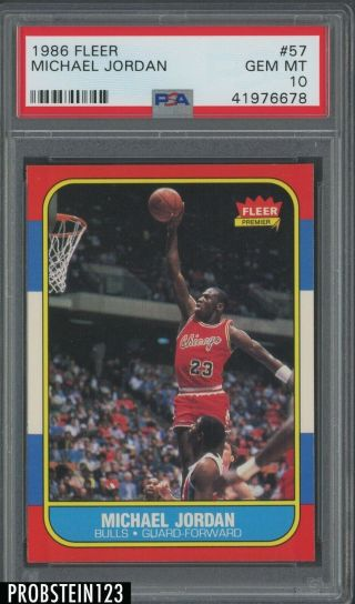 "1986 Fleer 57 Michael Jordan Bulls Rc Rookie Hof Psa 10 "" High End """