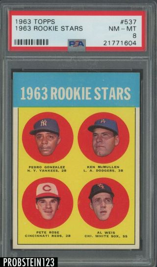 1963 Topps 537 Pete Rose Cincinnati Reds Rc Rookie Psa 8 Nm - Mt Pwcc - Pq