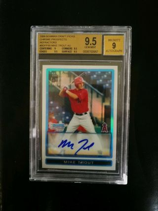 2009 Bowman Chrome Refractor Mike Trout Angels Rc Rookie Auto /500 Bgs 9.  5