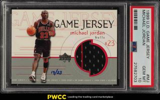 1999 Upper Deck Game Jersey Michael Jordan Patch /23 Mj Psa 10 Gem (pwcc)