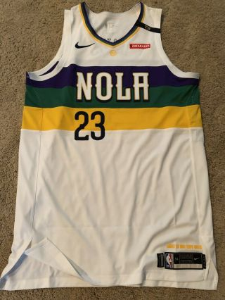 2018 - 19 Anthony Davis Game Worn Issued Orleans Pelicans Mardi Gras Jersey