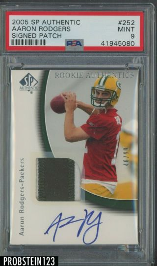 2005 Sp Authentic 252 Aaron Rodgers Rpa Rc Patch Auto /99 Psa 9