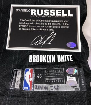 D'Angelo Russell Brooklyn Nets Signed Game Nike NBA City Jersey STEINER LOA 11