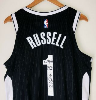 D'angelo Russell Brooklyn Nets Signed Game Nike Nba City Jersey Steiner Loa