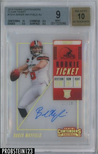 2018 Contenders Rookie Ticket Clear Baker Mayfield Browns Rc Auto 10/10 Bgs 9