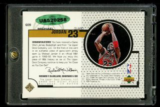 1998 Upper Deck Game Jersey Michael Jordan AUTO JERSEY GJ20,  UDA AUTH (PWCC) 2