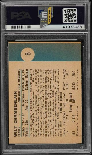 1961 Fleer Basketball Wilt Chamberlain ROOKIE RC 8 PSA 8 NM - MT (PWCC - E) 2