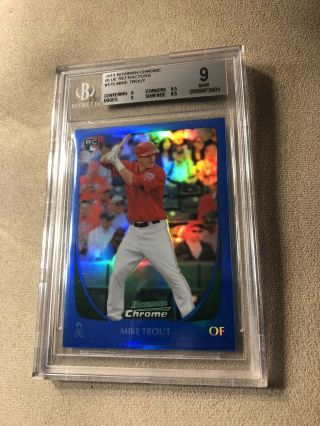 2011 Bowman Chrome Blue Refractor Mike Trout 175 Bgs Rookie Rc /150 Mvp Hot Sp