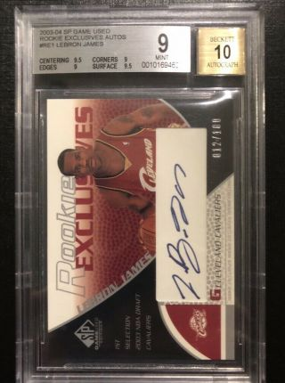 2003 - 04 Sp Game Rookie Exclusive Auto Lebron James Bgs 9.  5 Auto 10 12/100