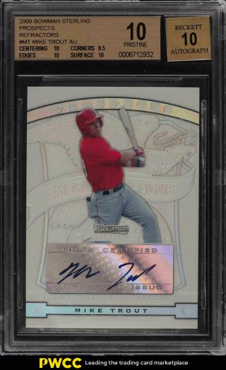 2009 Bowman Sterling Refractor Mike Trout Rookie Rc Auto /199 Bgs 10 (pwcc)