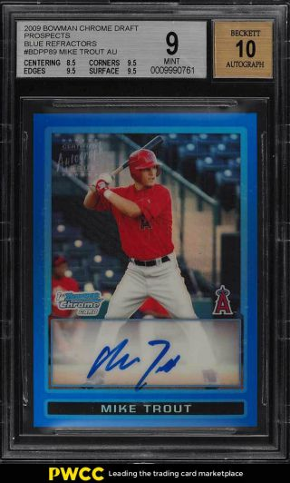 2009 Bowman Chrome Blue Refractor Mike Trout Rookie Rc Auto /150 Bgs 9 Mt (pwcc)
