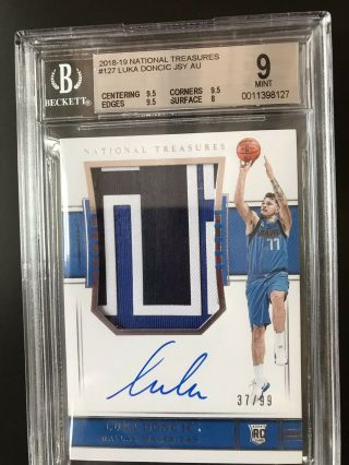 Luka Doncic 2018 - 19 Panini National Treasures Rc Auto Patch Rpa /99 Bgs 9/10
