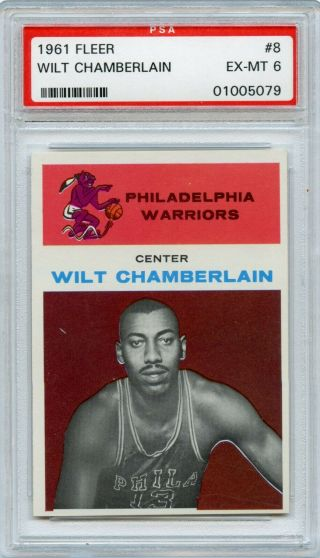 1961 Fleer Basketball Wilt Chamberlain Rookie Rc 8 Psa 6 Ex - Mt