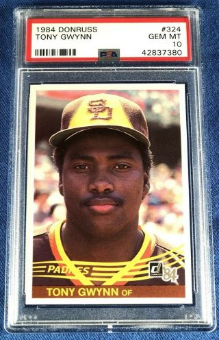 1984 Donruss Tony Gwynn San Diego Padres 324 Baseball Card Graded Psa 10