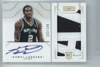 2012 National Treasures 114 Kawhi Leonard Patch Auto Rc 032/199
