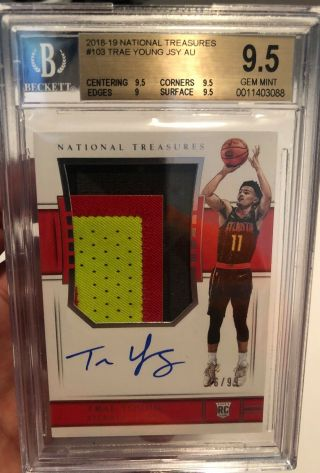 Trae Young 2018 - 19 National Treasures Rookie Patch Auto Bgs 9.  5 46/99 Rpa Rc