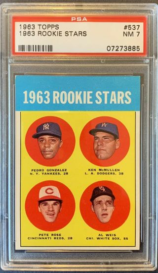 1963 Topps Pete Rose Rookie Rc 537 Psa 7 Nrmt