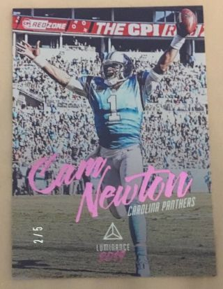 2019 Luminance Cam Newton Panthers Very Rare Pink Parallel 2/5