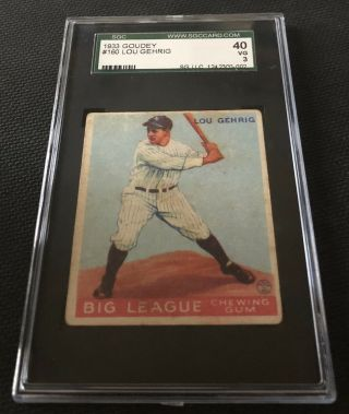 1933 Goudey Lou Gehrig SGC 40 / 3 Very Good 160 NY Yankees HOF 3