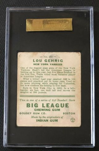1933 Goudey Lou Gehrig SGC 40 / 3 Very Good 160 NY Yankees HOF 4