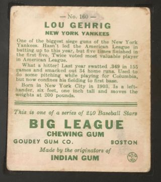 1933 Goudey Lou Gehrig SGC 40 / 3 Very Good 160 NY Yankees HOF 5