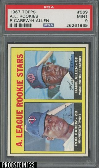 "1967 Topps 569 Rod Carew Twins Rc Rookie Hof Psa 9 "" Well Centered """