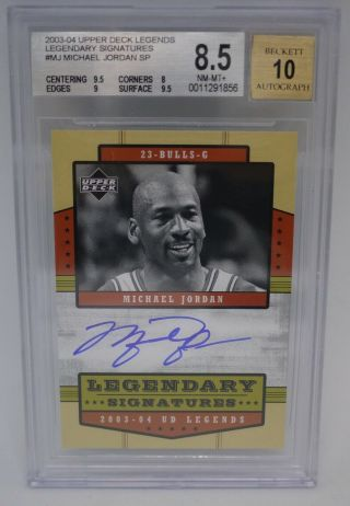 Michael Jordan 2003 - 04 Ud Legends Legendary Autograph Sp Bgs 8.  5 W/ 10 Auto