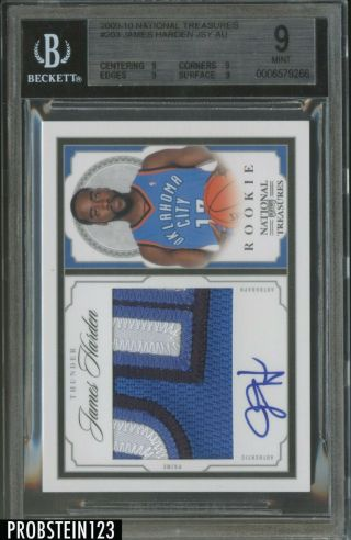 2009 - 10 National Treasures James Harden Rpa Rc 3 - Color Patch Auto /99 Bgs 9