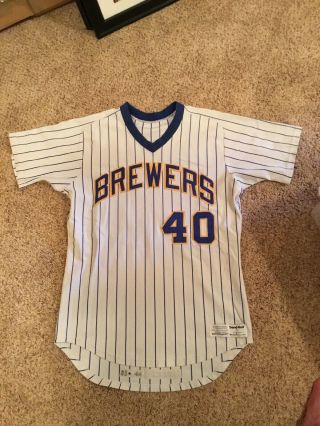 1985 Milwaukee Brewers Game Jersey Bob Gibson
