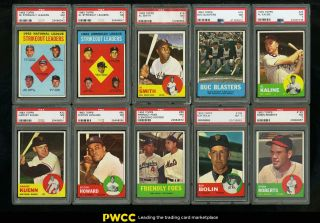 1963 Topps Mid - Hi Grade Complete Set Clemente Aaron Mays Mantle Rose Psa 7 (pwcc)