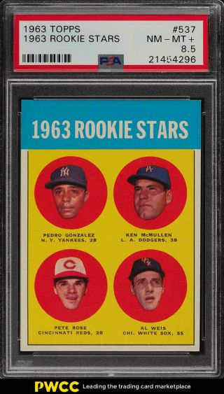 1963 Topps Pete Rose Rookie Rc 537 Psa 8.  5 Nm - Mt,  (pwcc)
