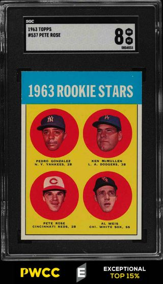 1963 Topps Pete Rose Rookie Rc 537 Sgc 8 Nm - Mt (pwcc - E)