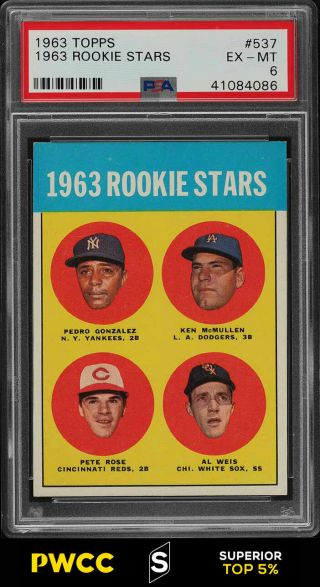 1963 Topps Pete Rose Rookie Rc 537 Psa 6 Exmt (pwcc - S)