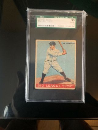 1933 Goudey Lou Gehrig Rookie 92 Sgc 3 Vg.  Psa 2 Equivalent Great Investment