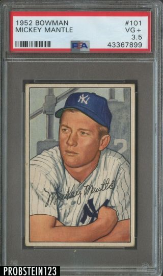 1952 Bowman 101 Mickey Mantle Hof York Yankees Psa 3.  5 Vg,  Centered
